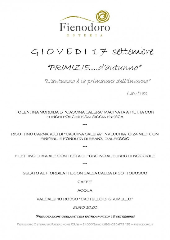 SERATA DI GIOVEDI' 17 SETTEMBRE