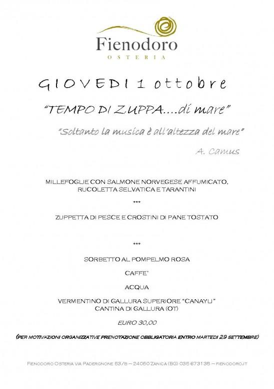 SERATA DI GIOVEDI' 1 OTTOBRE