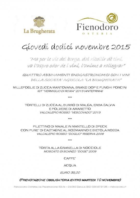 GIOVEDI' 12 NOVEMBRE 2015